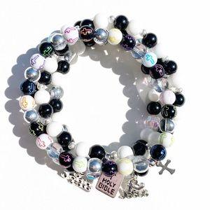 Christian Cross Bible Faith Beaded Bracelet Set